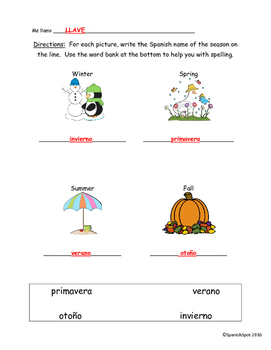 Free!!! Spanish worksheet / quiz- seasons & months