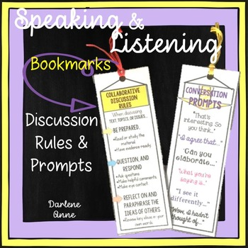Free Speaking and Listening Discussion Rules and Prompts Bookmarks