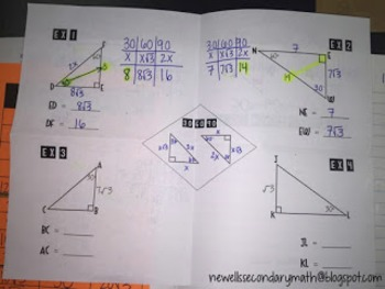 Free Special Right Triangles 30-60-90 Foldable