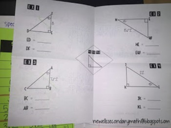 Free Special Right Triangles 45-45-90 Foldable