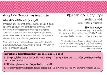 Free ~ Speech and Language Activity 002 ~ Syllables for Breakfast!
