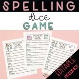 Free Spelling Dice Game - Editable