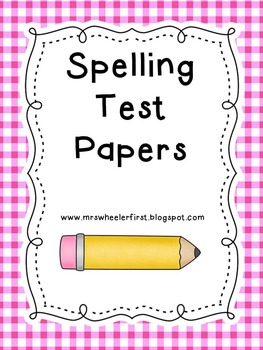 First Grade Spelling Test Papers