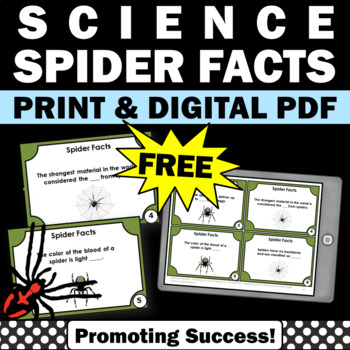 Free Spider Facts Task Cards, Halloween Science Activities