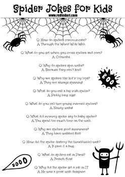 Halloween Spider Jokes.Free Spider Joke Printable Halloween Jokes By Red Ted Art Tpt