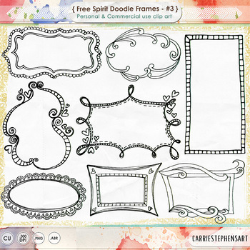 Free Spirit Digital Frames - Hand Drawn Borders and Label Doodle ClipArt - 003