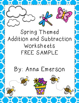 Free Spring Themed Addition and Subtraction