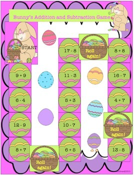 Free Downloads Spring Easter Addition and Subtraction Game! Centers!