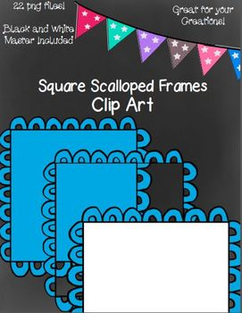 Square Scalloped Frames Black And White Master Included