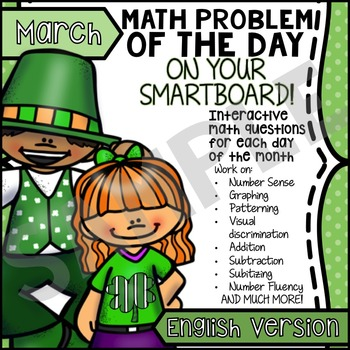 FREE St. Patrick's Day & Spring SmartBoard Math Problem of