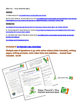 Free St.Patrick's Day Word Search, video & website links