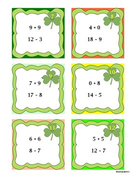 Free Downloads St. Patrick's Day Addition and Subtraction Game! Centers