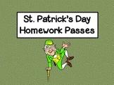 Free St. Patrick's Day Homework Passes!