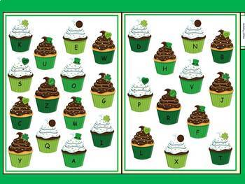 Free: St. Patty's Day Cupcakes File Folder Game Letter Identification
