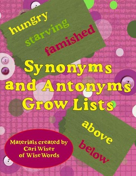 Free Standards Based Grow Lists for Test Prep: Synonyms and Antonyms