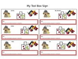 Free Kindergarten Standards for Mathematical Practices Tool Box Sign