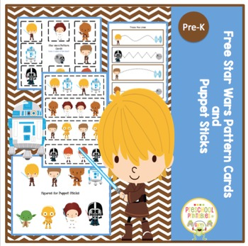 Free Star Wars Pattern Cards and Puppet Sticks