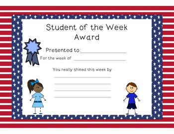 Stars and Stripes Student of the Week Certificates and Smaller Awards