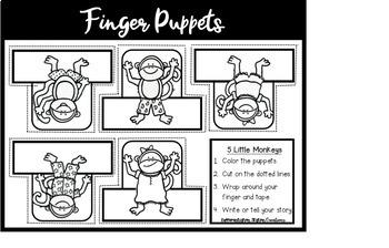 Free Storytelling: Finger Puppets, Storytelling Gloves, 5 Little Monkeys