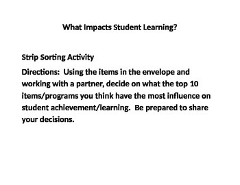 Free Strip Sorting Activity on Learning Strategies