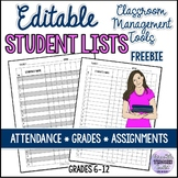 Free Student Grade, Attendance or Assignment Tracking Form/Sheet
