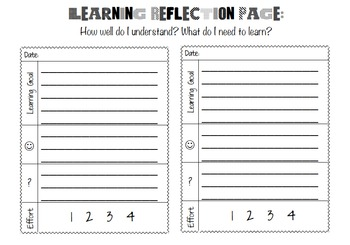 Free Student Learning Reflection Page