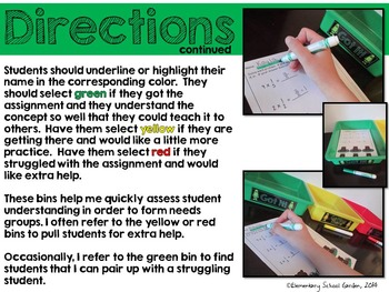 Free Student Reflection Turn-In Bin Labels and Poster