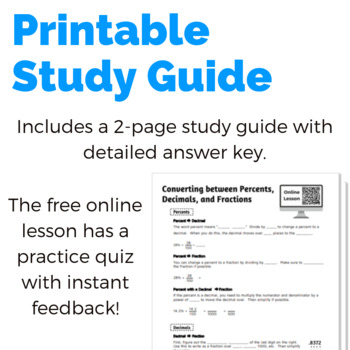 Free Study Guide: Converting between Percents, Decimals, and Fractions