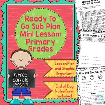 Free Sub Plans for Kindergarten Primary Grades