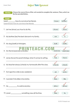 Free Subject-Verb Agreement Worksheet