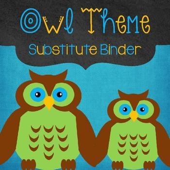 Editable Substitute Binder Owl Theme