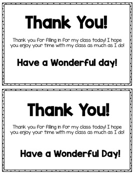Free Substitute Thank You Notes