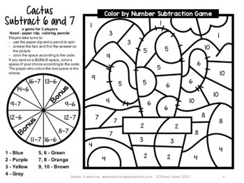Free Subtraction Color by Number Game: Cactus Color by Number Subtraction Game
