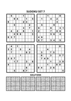 Free Sudoku Set of Four Puzzles