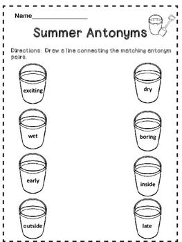 Free Summer Antonyms