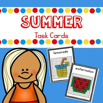 Free Summer Building Brick Task Cards
