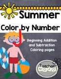 Summer Color By Number Beginning Addition (Printable)