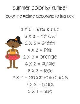 Summer Color By Number Beginning Multiplication (Printable)