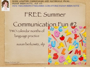 Free! Summer Communication Fun for students who need language support