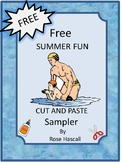 Free Summer Fun Cut and Paste, Math and Literacy, Special Ed, P-K, K Autism