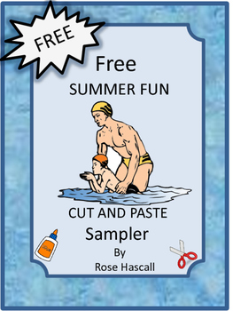 Free Summer Fun Cut and Paste Worksheets, Autism, Pre-K, K