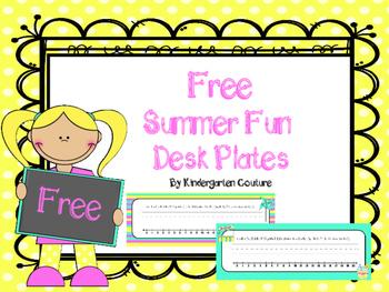 Free Summer Fun Desk Plates