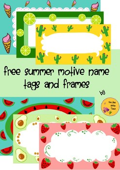Free Summer Motive Name Tags and Frames