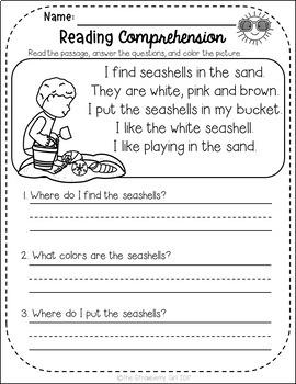 FREE Kindergarten Reading Comprehension Passages - Summer