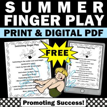 FREE Summer Finger Play, Free Summer School Reading Activity, Summer Fingerplay