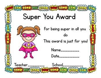 Free Super Hero Theme Award Certificates
