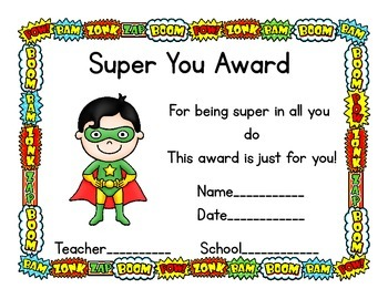 free super hero theme award certificates by aunt minty s education place