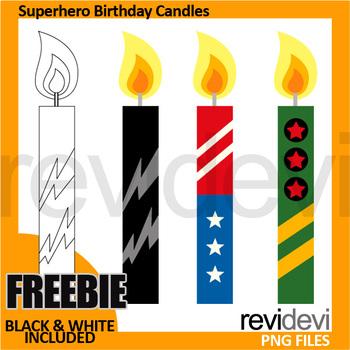 Free Superhero Clip Art - Birthday Candles Clipart Freebie