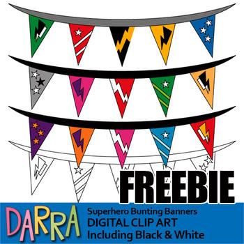 Free Superhero Clip Art - Superhero Bunting Banners Clipart