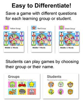 Free Superhero Quiz Wheel CVC Words Game for SmartBoards, Tablets & Computers